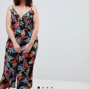 Influence Plus Tropical Print Wide Leg Jumpsuit